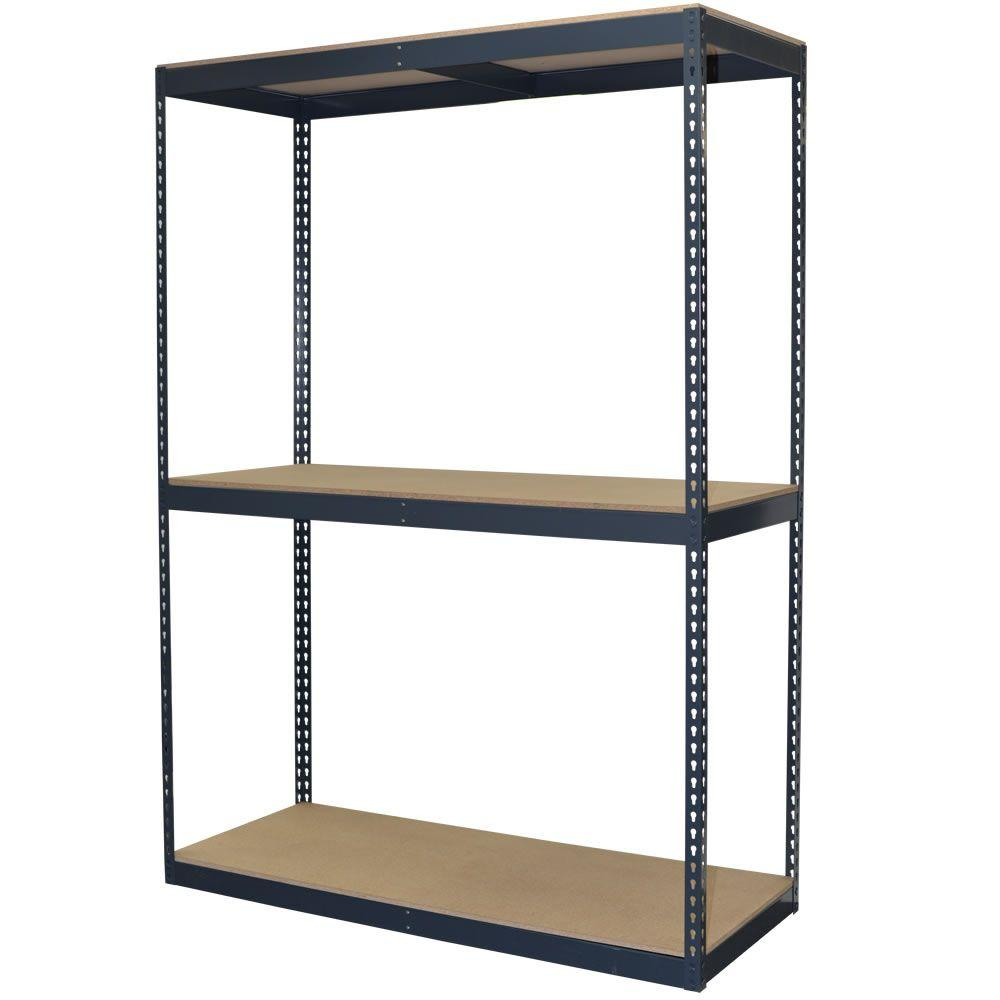 Storage Concepts 96 In H X 60 In W X 24 In D 3-shelf Steel Boltless  Shelving Unit With Double Rivet Shelves And Laminate Board Decking