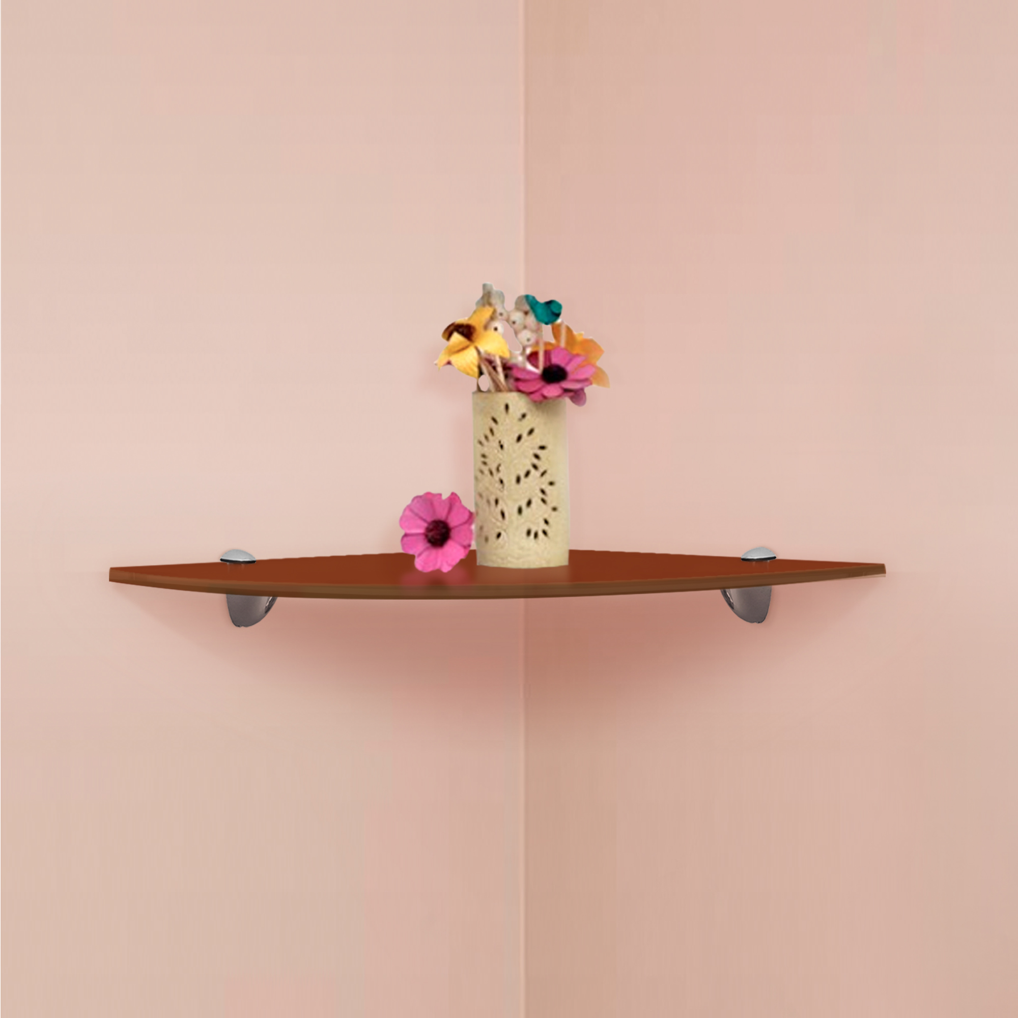 Details About Fab Glass And Mirror Quarter Circle Corner Floating Bronze  Glass Shelves