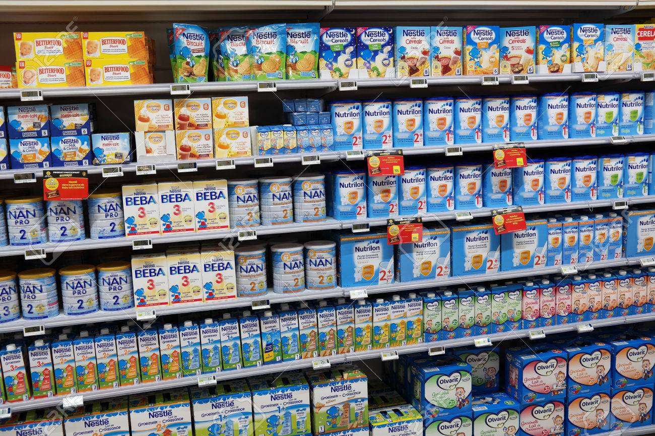 Belgium May 2015 Shelves Filled With Commercial Baby Food In