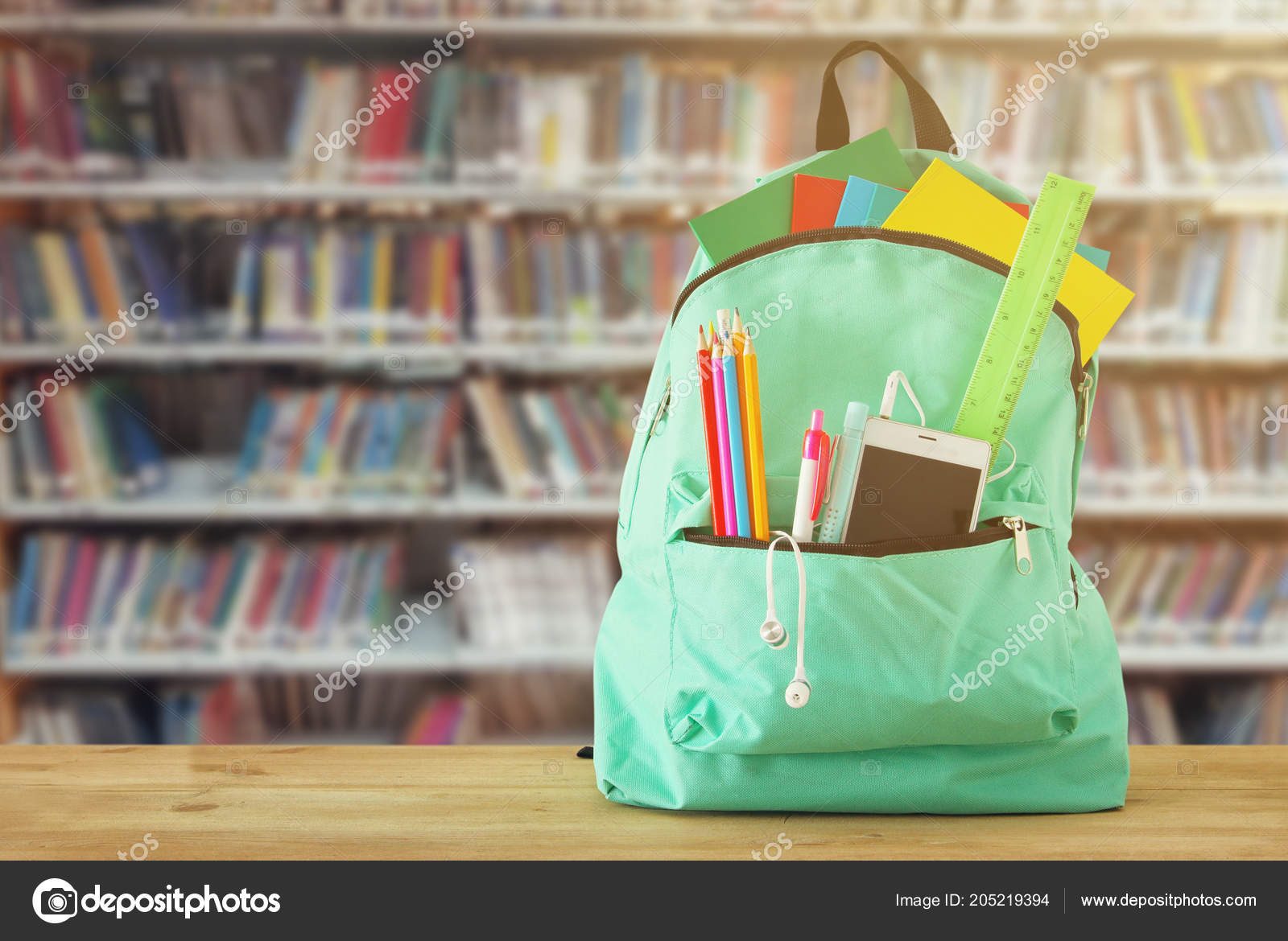 School Bag Stationery Notebooks Front Shelves Books Library