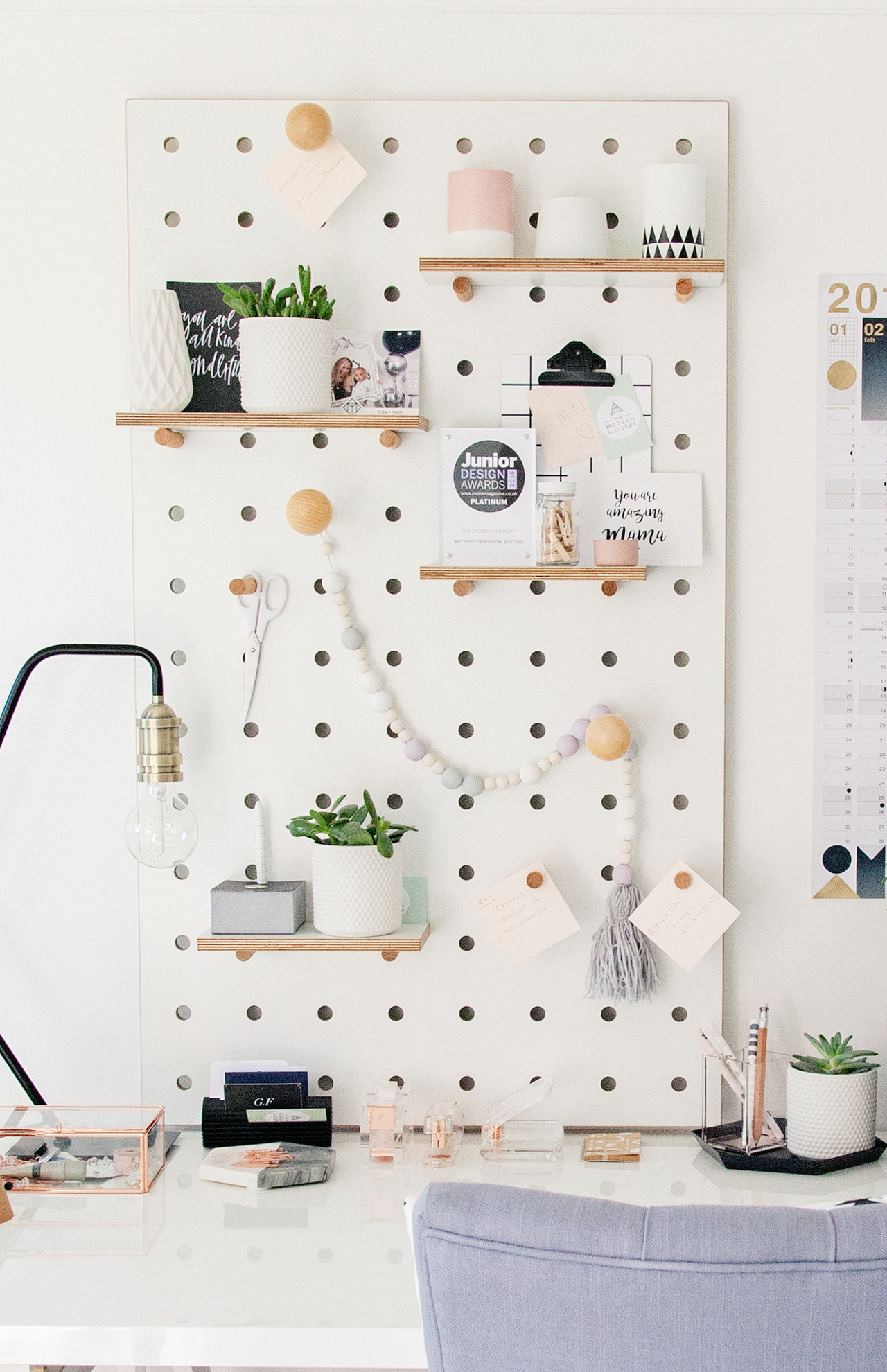 Pegboard With Shelves And Pegs - White   Pegboard Ideas In