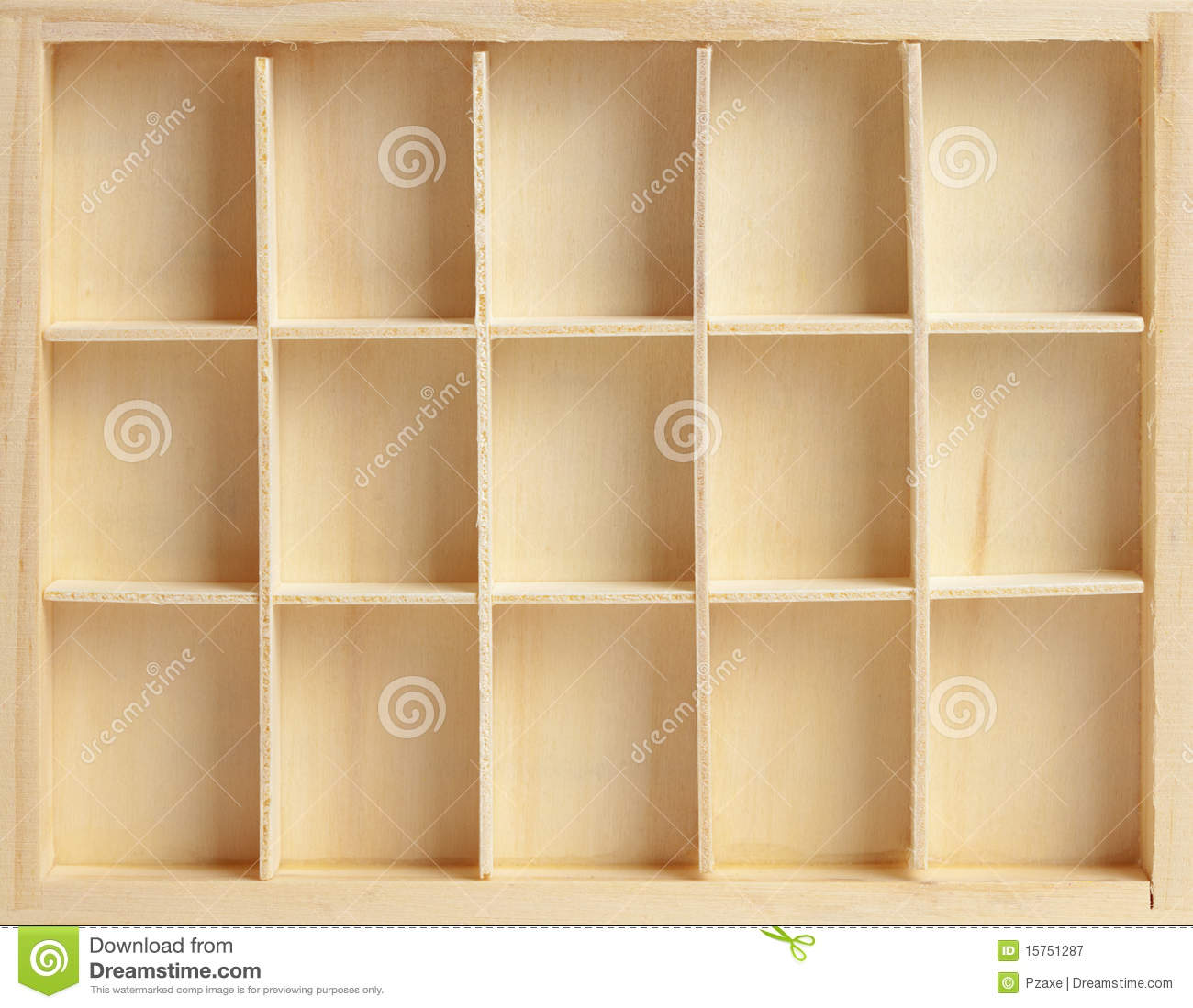 Wooden Box On Fifteen Cells Stock Image - Image Of Shelves