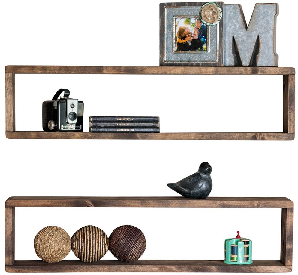 Set Of 2 Rustic Long Floating Box Shelves Stackable Solid