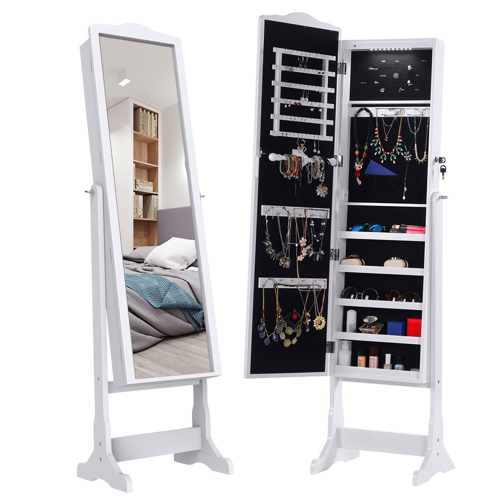 Langria 10 Leds Lockable Jewelry Cabinet Full-length Mirrored Jewelry  Armoire Free Standing, 5 Shelves, Organizer For Rings, Earrings, Bracelets,