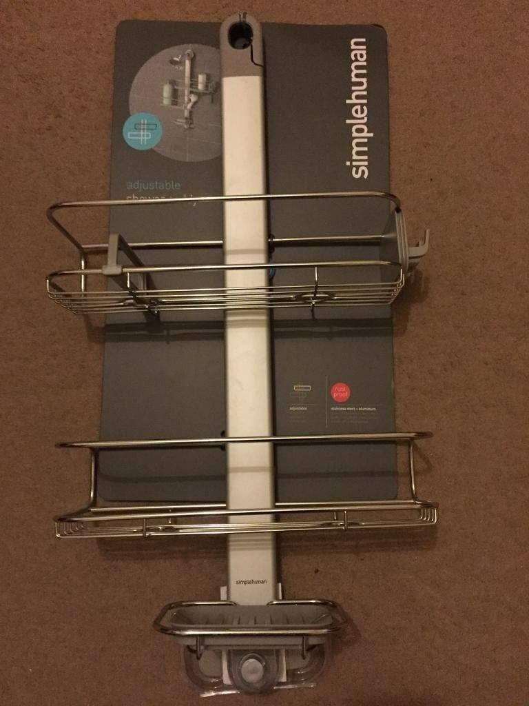 ( New ) Simplehuman Adjustable Shower Caddy / Shelves, Stainless Steel And  Anodised Aluminium | In City Of London, London | Gumtree