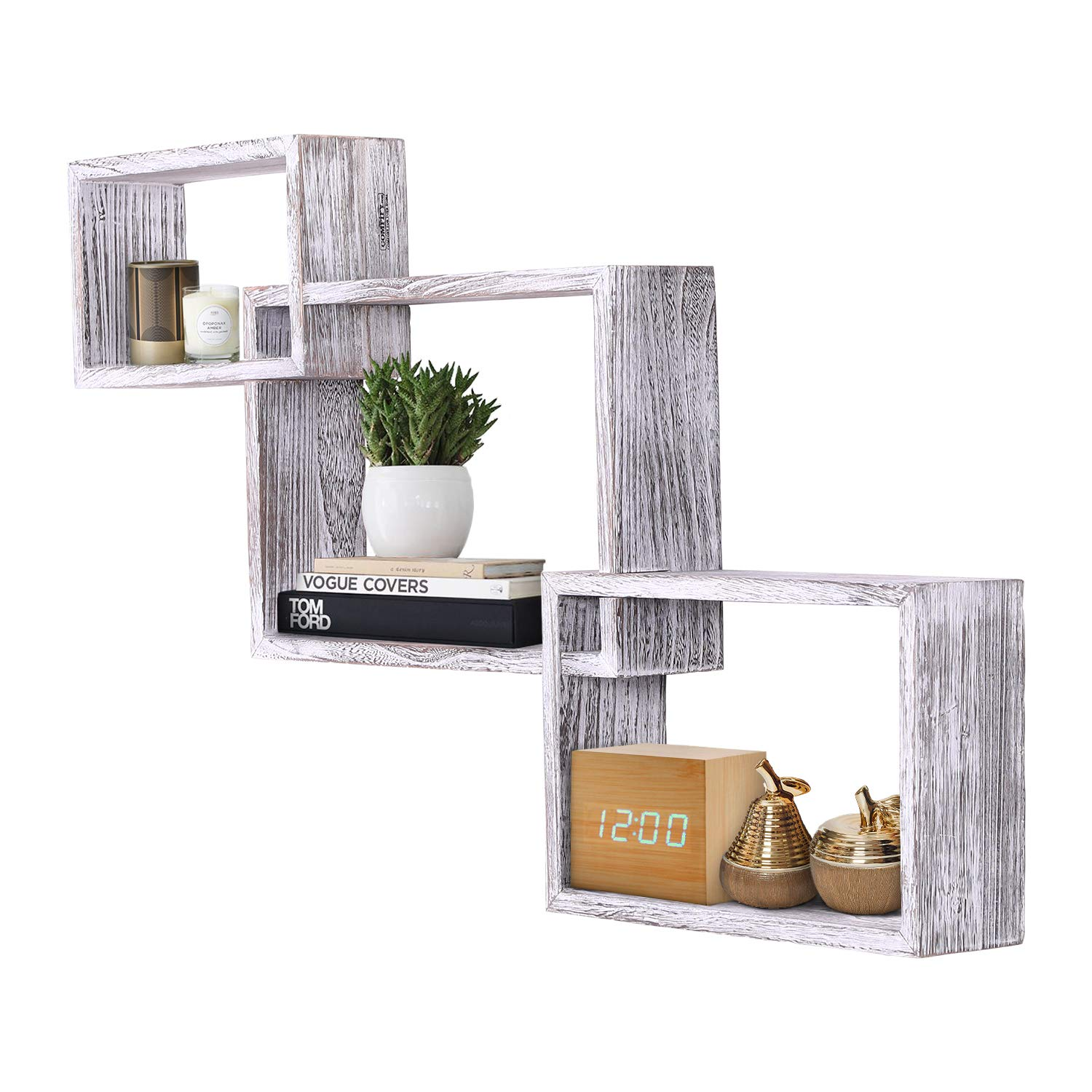 Rustic Wall Mounted Tier Square Shaped Floating Shelves – Set Of 3 – Screws  And Anchors Included - Farmhouse Wooden Shelves For Bedroom, Living Room