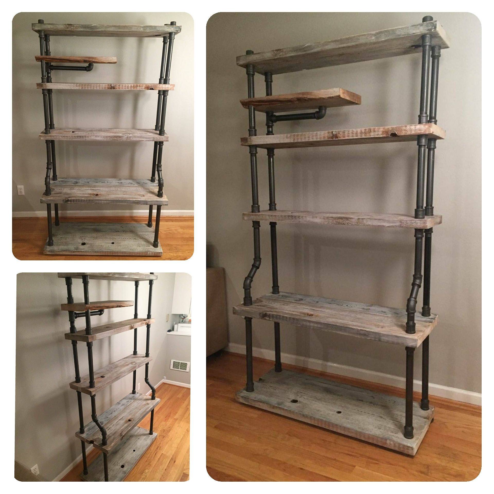 Huge Free Standing Pipe Shelves, 6-1/2 Ft Tall Industrial