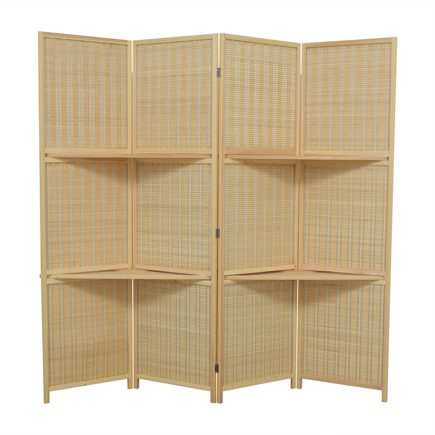 54% Off - Mygift Mygift Woven Bamboo Four Panel Divider Screen W/removable  Storage Shelves / Decor