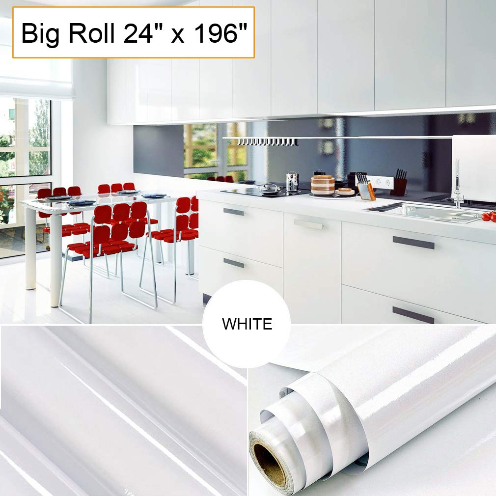 Oxdigi White Contact Paper Decorative For Countertops Cabinets Shelves  Glossy Self Adhesive Vinyl Film Peel And Stick Removable Waterproof  Wallpaper