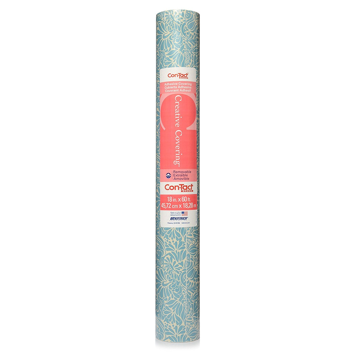 """Con-tact Brand Creative Covering Adhesive Vinyl For Lining Shelves And  Drawers, Decorating And Craft Projects, 18"""" X 60', Batik Blue"""