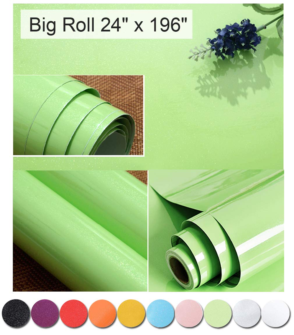Oxdigi Green Contact Paper Decorative For Countertops Cabinets Shelves  Glossy Self Adhesive Vinyl Film Peel And Stick Removable Waterproof  Wallpaper