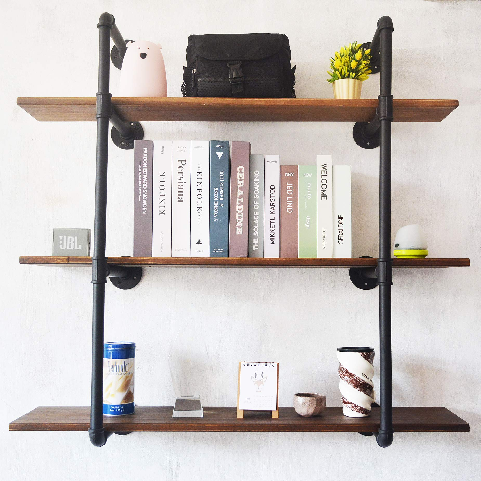Puncia Long Wall Floating Solid Wood Kitchen Book Storage Shelf Farmhouse  Wall Bookcase Shelves Farmhouse Bedroom Office Wall Decor (48in X 8in X3