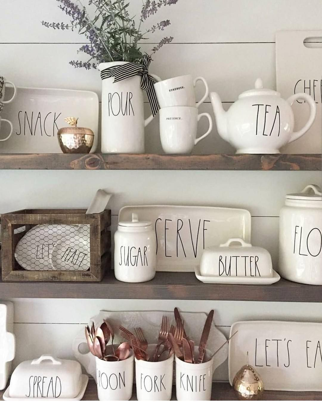 Rae Dunn Displayed On Rustic Shelves | New Obsession- Rea