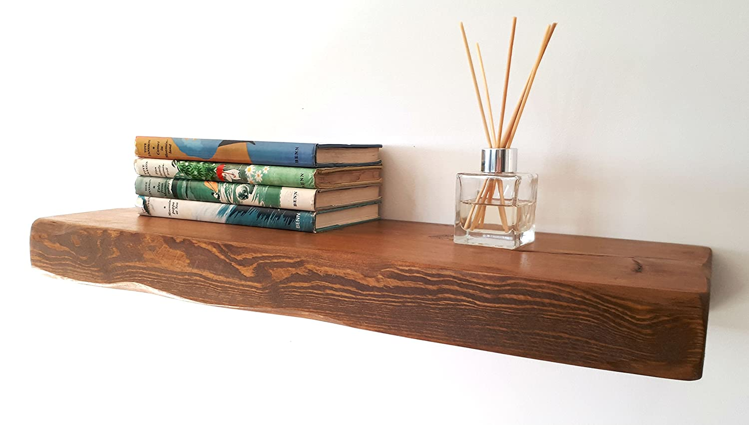 Floating Shelves Reclaimed Solid Wood Rustic Wall Shelf In Medium Oak  Finish 5 Ft Long - Perfect For Living Room, Kitchen, Bathroom, Office