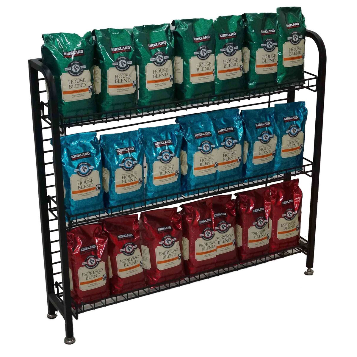 """33""""h Under Counter Wire Display Rack With 4-6"""" Shelves"""