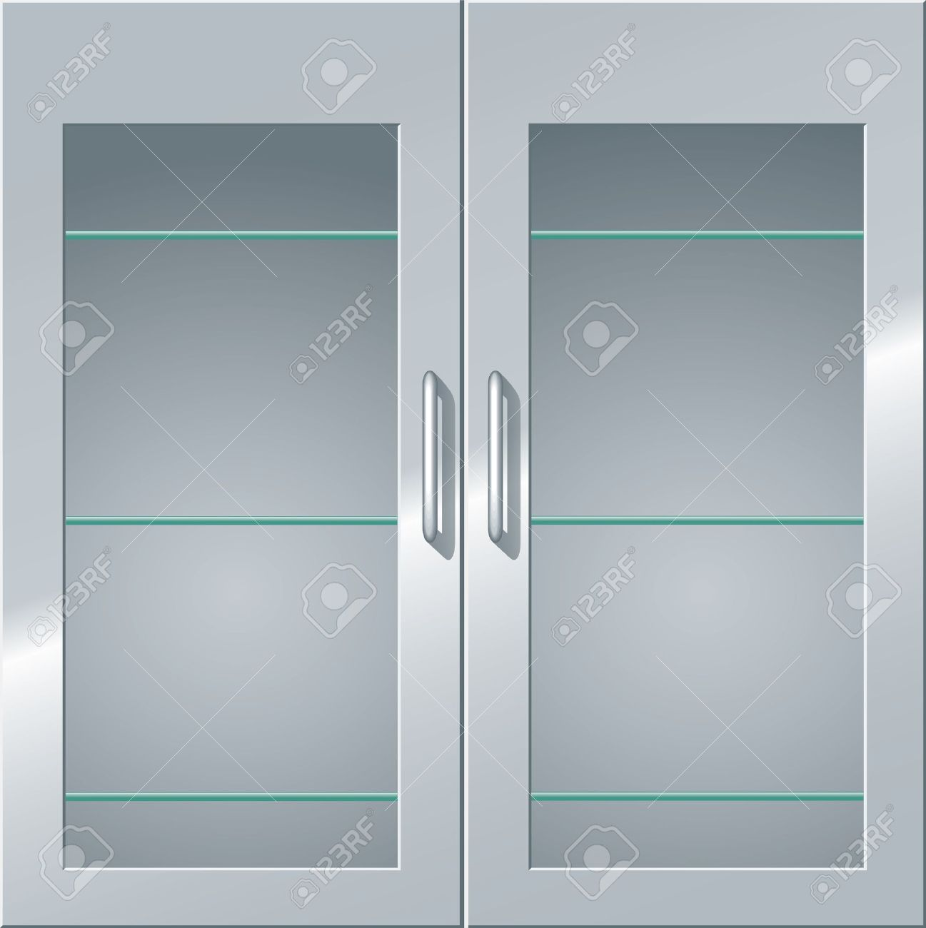 Front View Of A Metal Cabinet With Glass Doors And Shelves