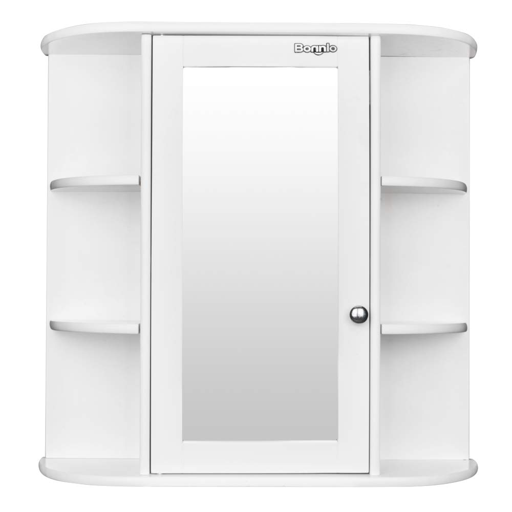 Bathroom Wall Cabinet With Glass Door Multipurpose Storage Organizer  Shelves Home Furniture Bright White Finish