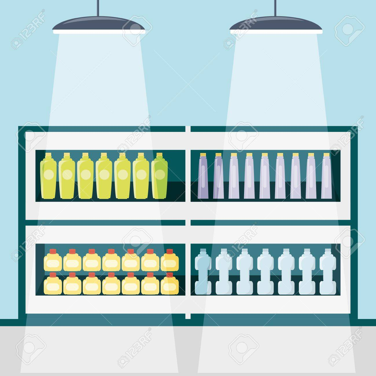 Supermarket Shelves With Products Icon Colorful Design Vector