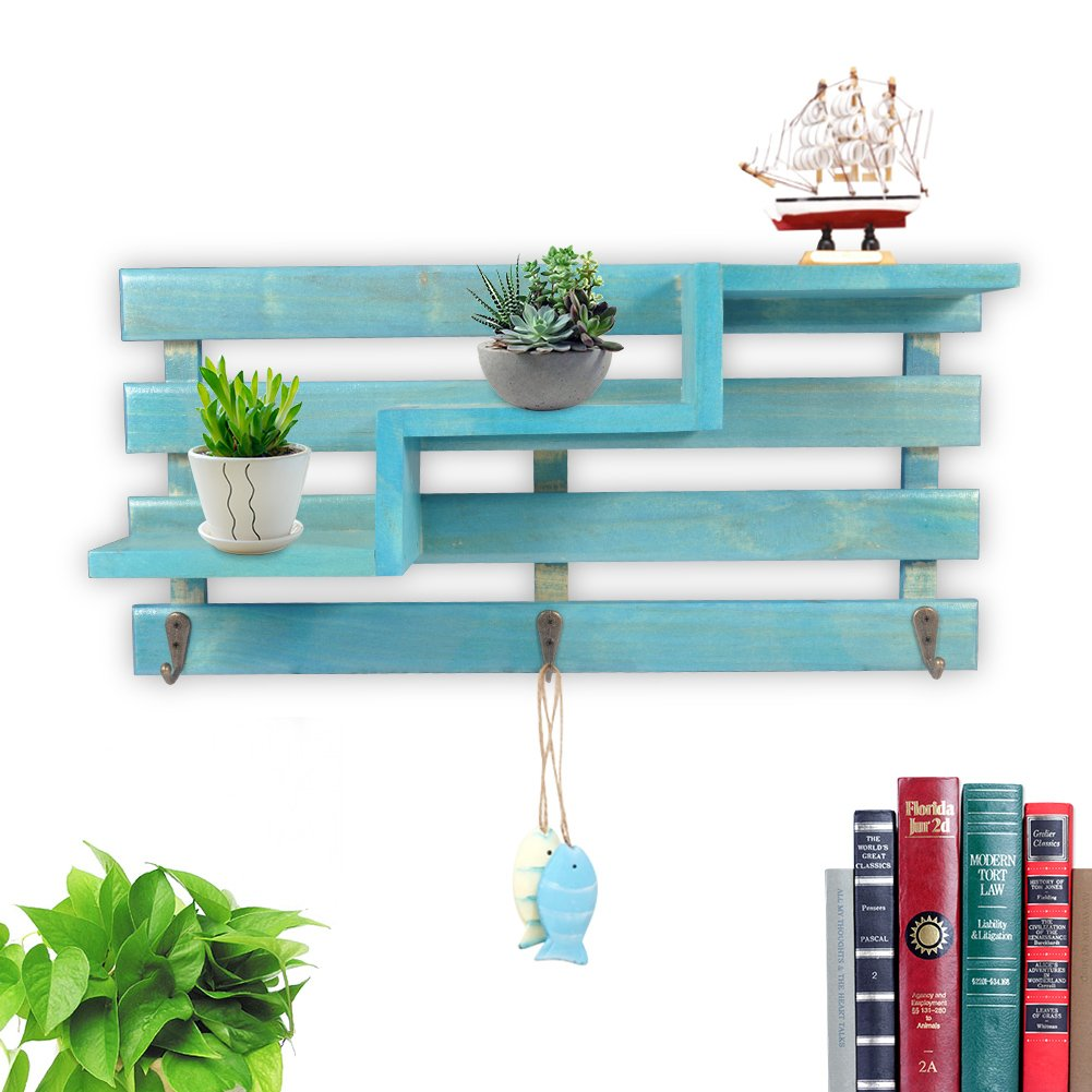 Fdit Wood Wall Shelf Storage Rack Wooden Shelves Organise Shelf In Retro  Trend Design For Wall Stand Books Cd Ornaments Plants Decoration Blue