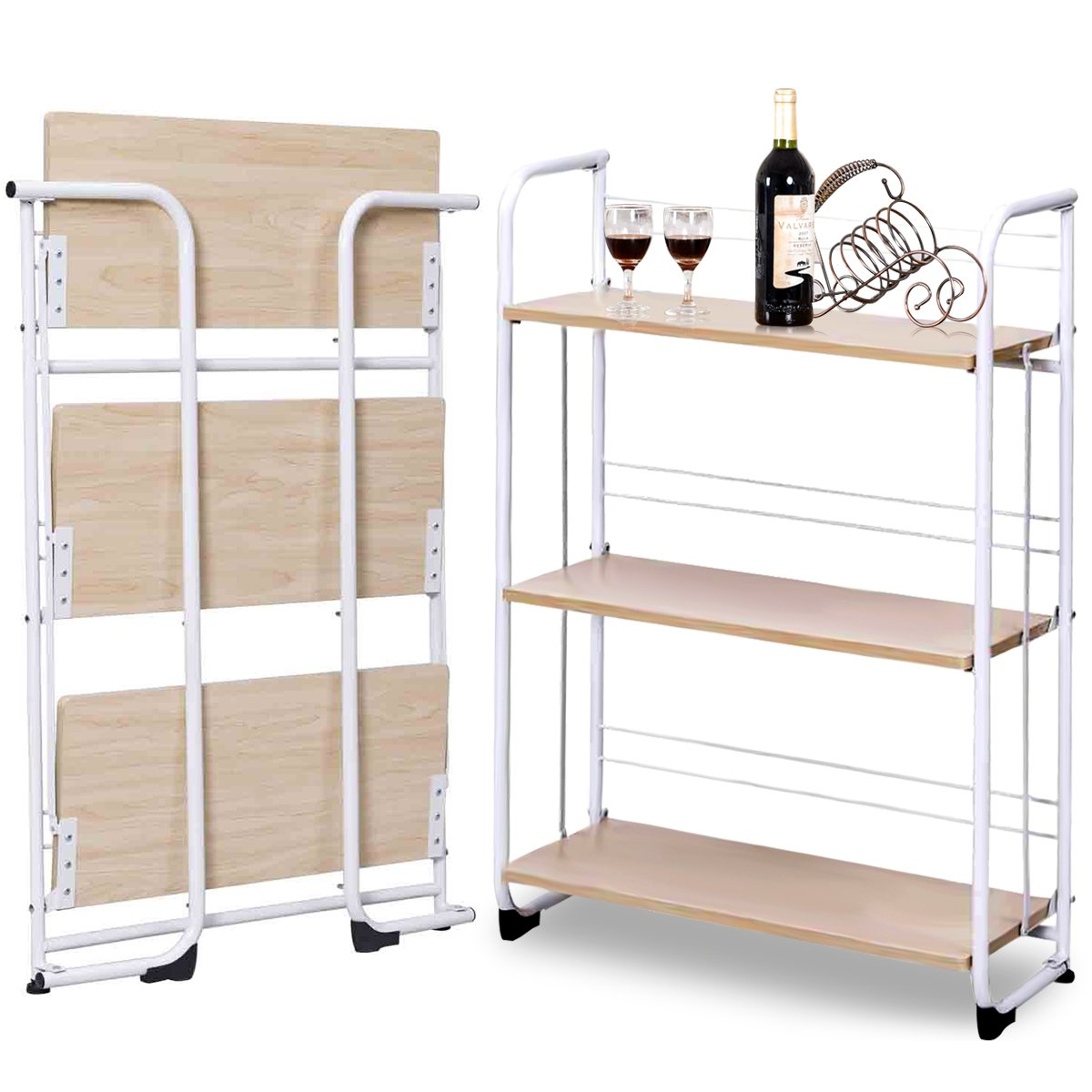 Giantex 3 Tier Folding Shelf With Rubber Feet Protect Steel Cart Foldable  Shelves Kitchen Dining Storage Cart