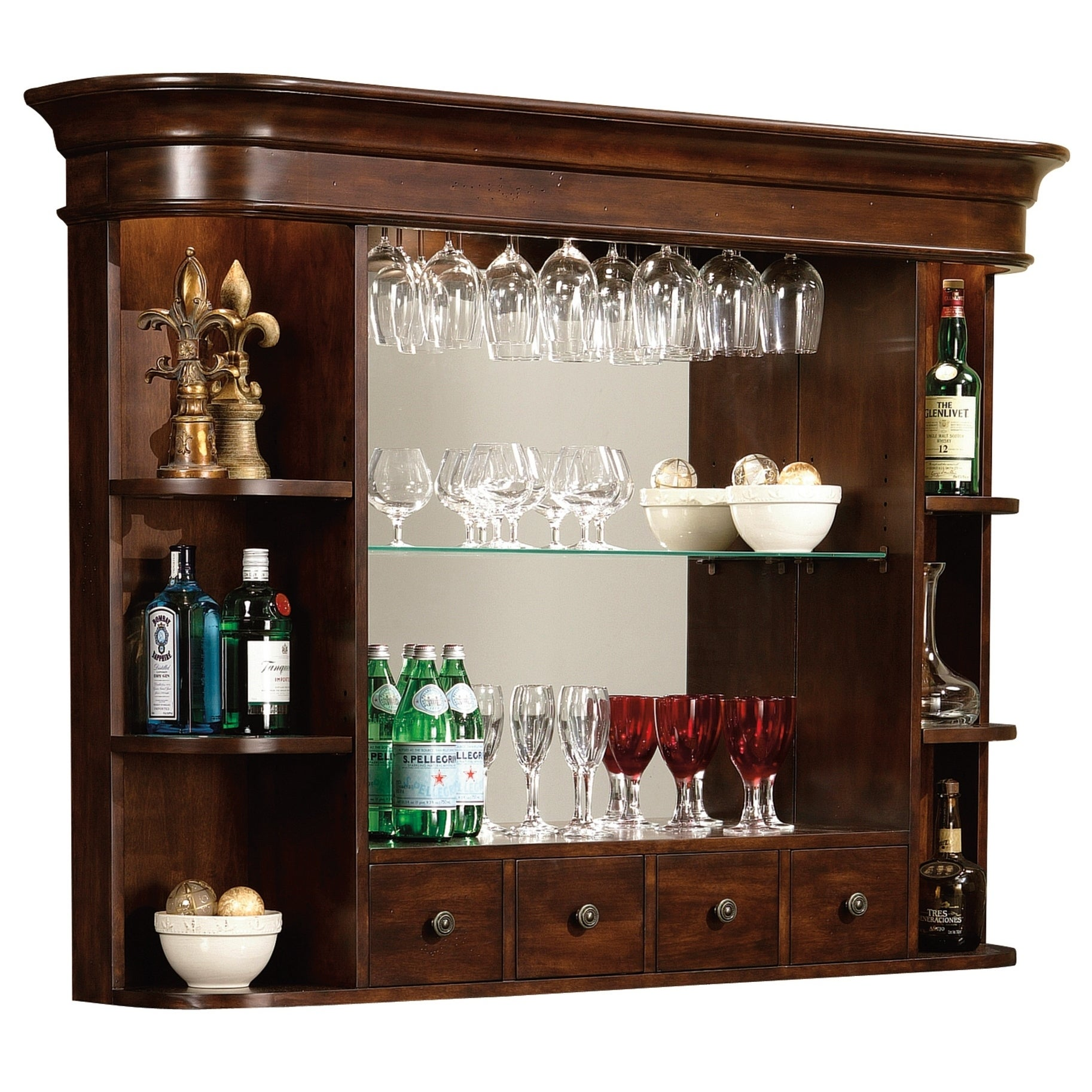 Howard Miller Niagara Hutch Rustic Vintage Style, Four Drawer Liquor Or  Wine Display Shelves With Mirrored Back - N/a