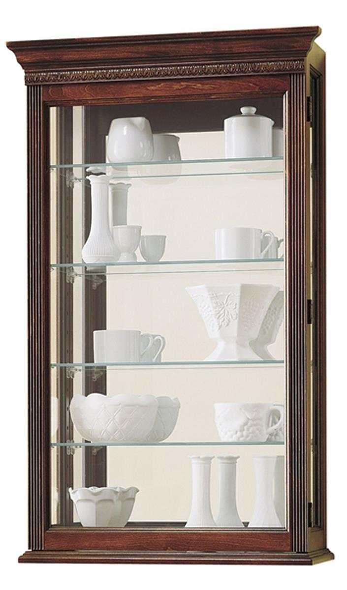 Wall Display Cabinet W/ 4 Adjustable Shelves, Mirrored Back & Cherry Finish