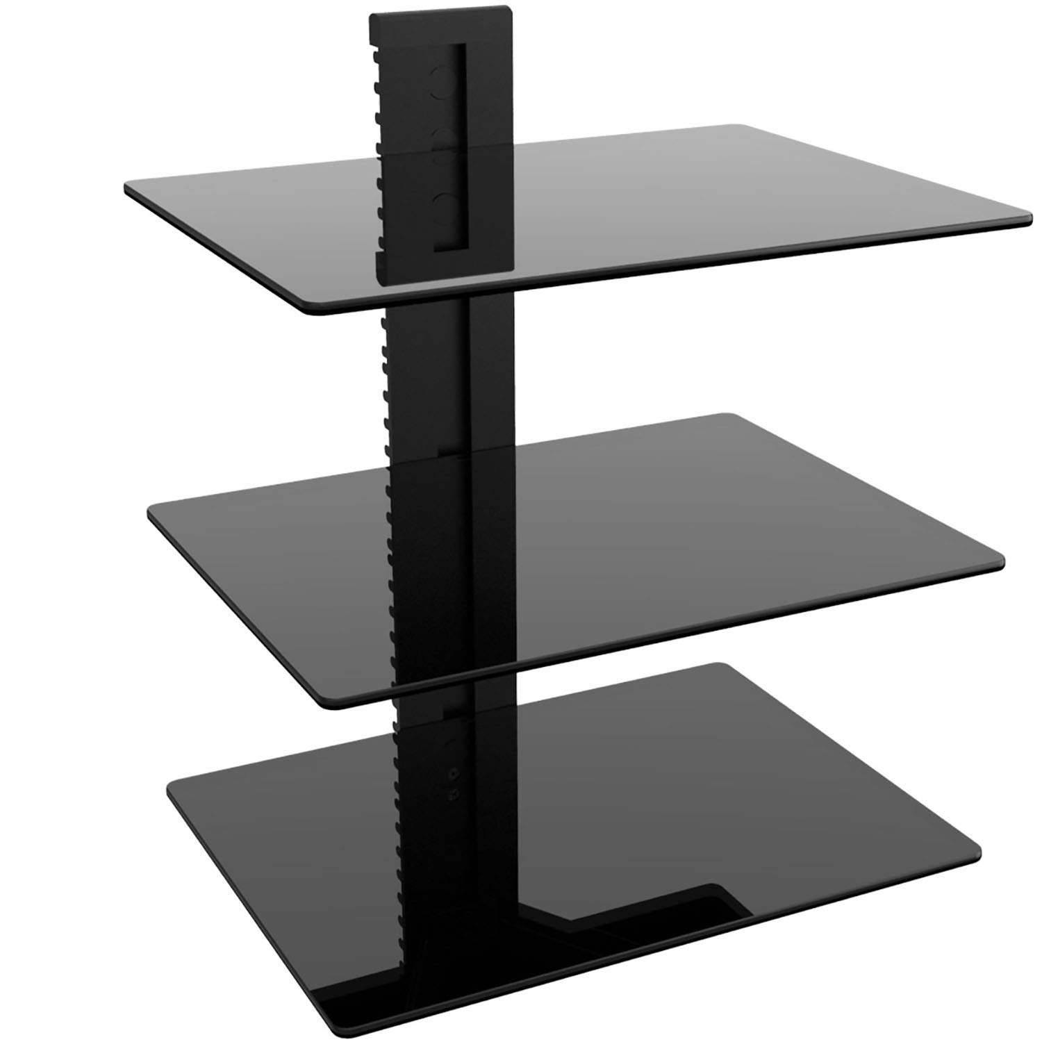 Wali Floating Wall Mounted Shelf With Strengthened Tempered Glasses For Dvd  Players, Cable Boxes, Games Consoles, Tv Accessories (cs303), 3 Shelves,