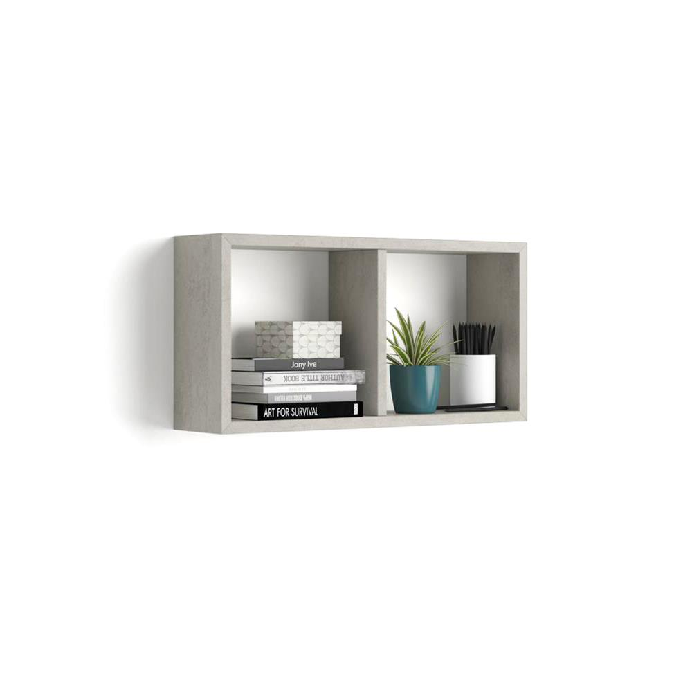 Wall-mounted Cube Shelves, First, Laminate-faced, Grey Concrete