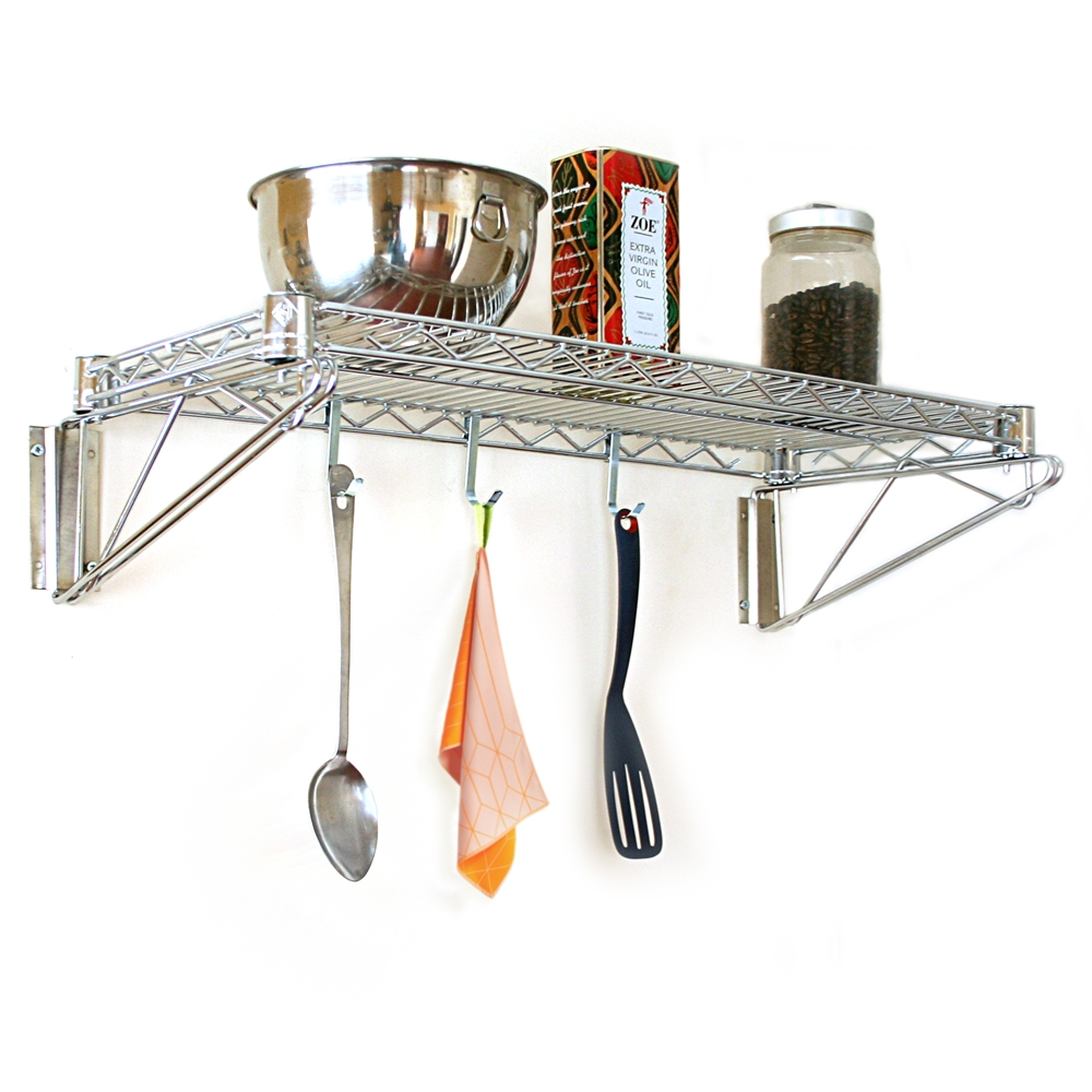 """8""""d Wall Mounted Wire Shelves"""