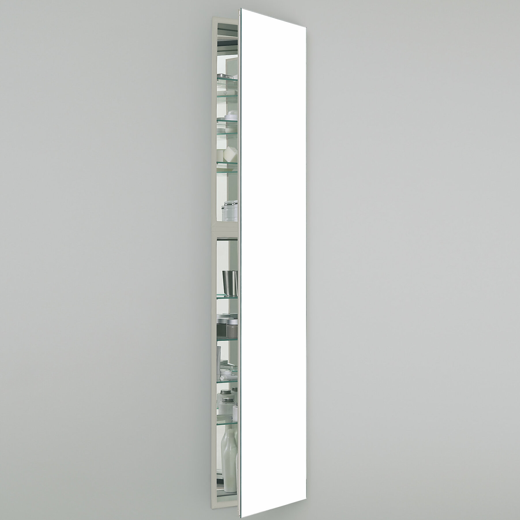 M Series Recessed Or Surface Mount Frameless Medicine Cabinet With 7  Adjustable Shelves And Led Lighting