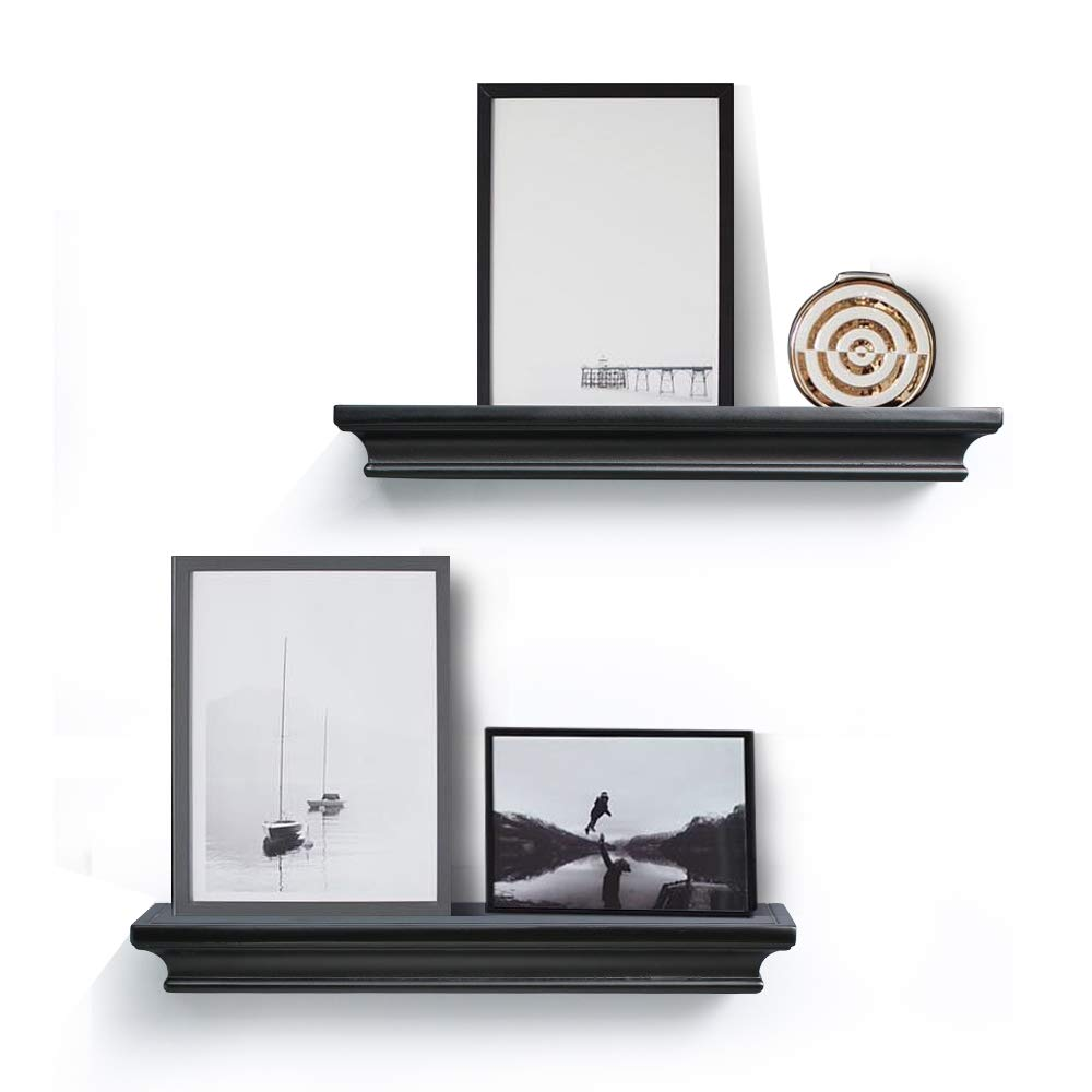 """Ahdecor Floating Shelves Black, Ledge Wall Shelf For Small Display Items  With 4"""" Deep, 2-pack"""