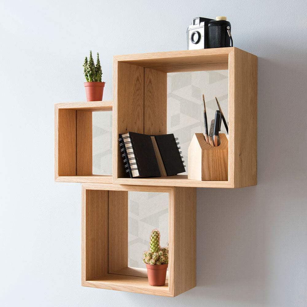 Solid Wood Statement Cube Mirror Shelves