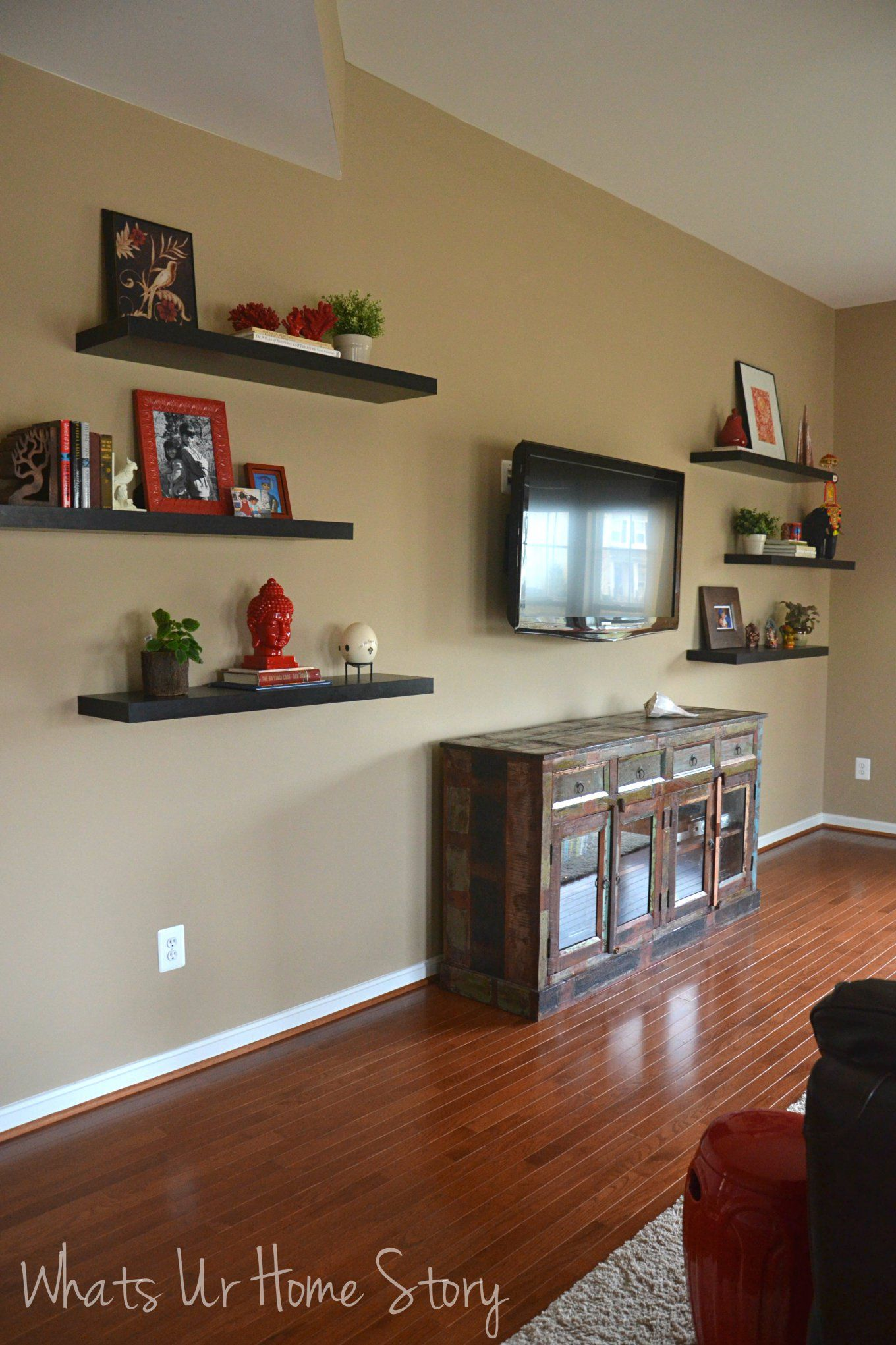 How To Decorate Around A Tv With Floating Shelves | For The
