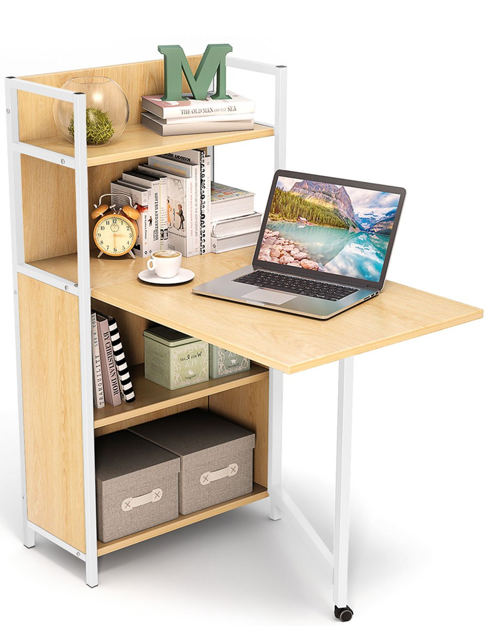 Tribesigns Small Folding Computer Desk With Storage Shelves, Foldable Pc  Laptop Study Table Writing Desk With Hutch For Small Space (walnut)