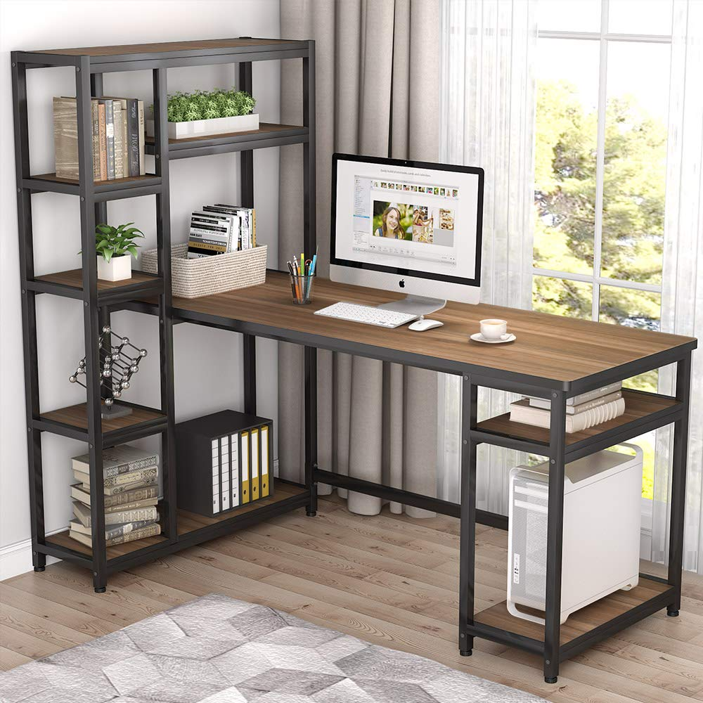 """Tribesigns 67"""" Large Computer Desk With 9 Storage Shelves, Office Desk  Study Table Writing Desk Workstation With Hutch Bookshelf For Home Office,  Oak"""
