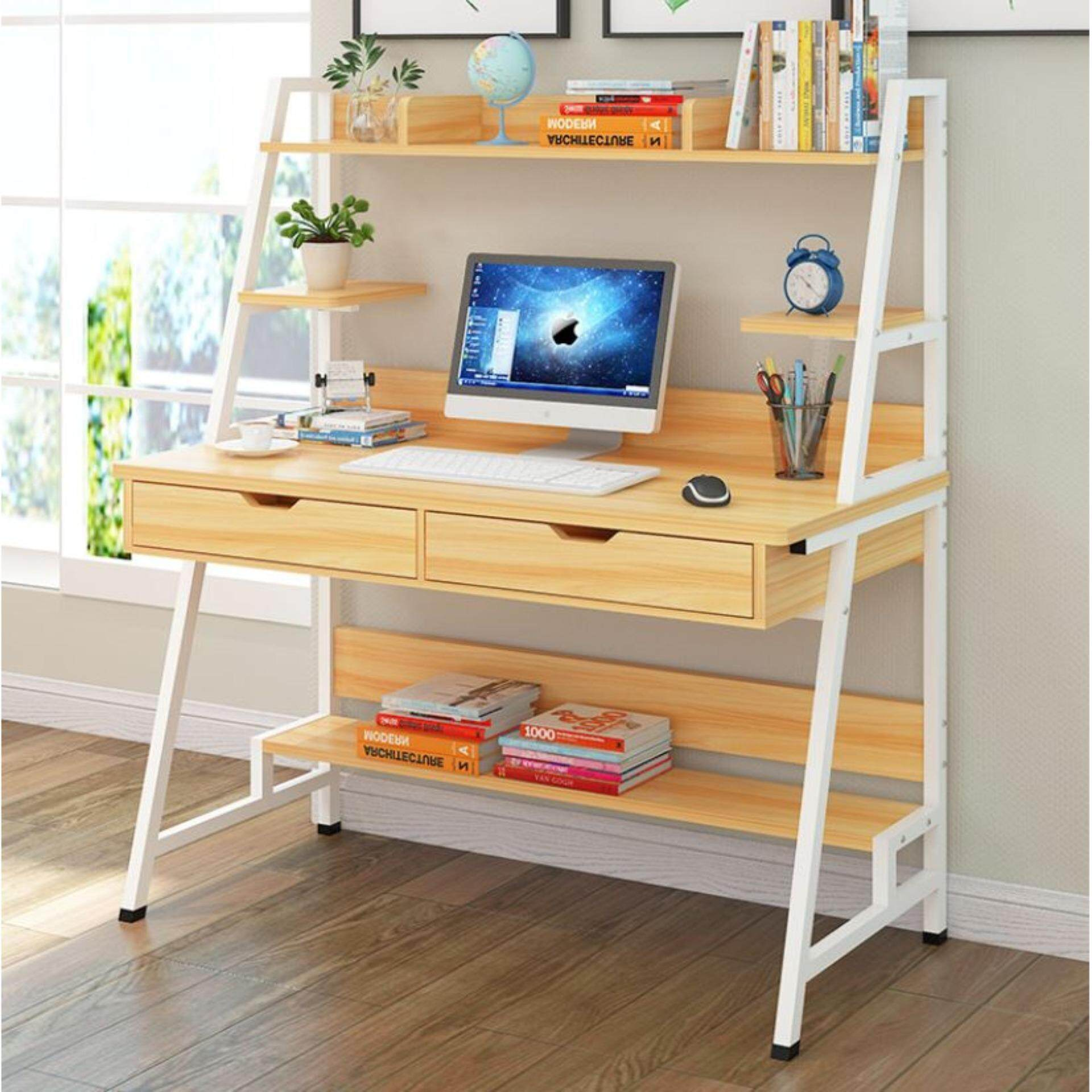 Modern Study Table With Hidden Book Shelves, Double Drawers & Built-up  5-compartments Shelves (light Brown)