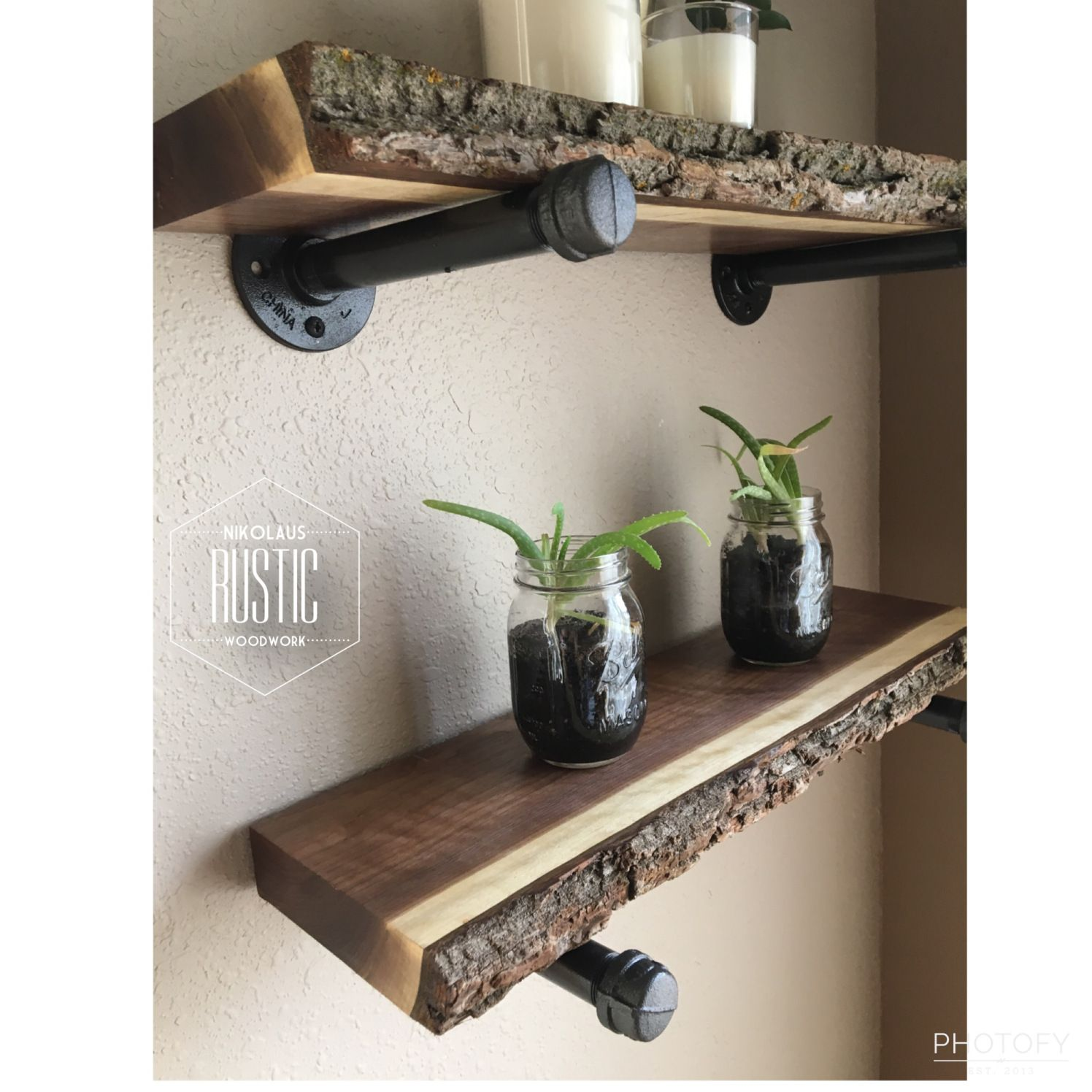 Black Walnut Live Edge Shelves From #nikolausrusticwoodwork
