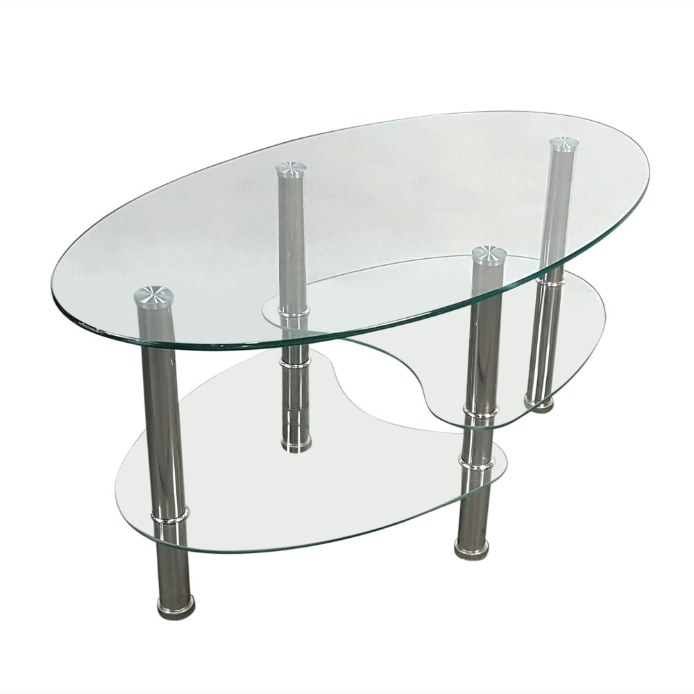 Details About Modern Design Clear Glass Coffee Table Oval Side Chrome Base  Shelves Living Room