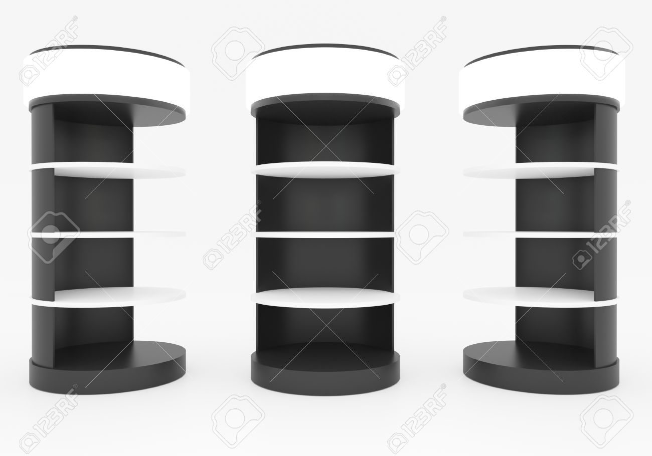 Futuristic Empty Black Circular Shelves With Ligthbox On White