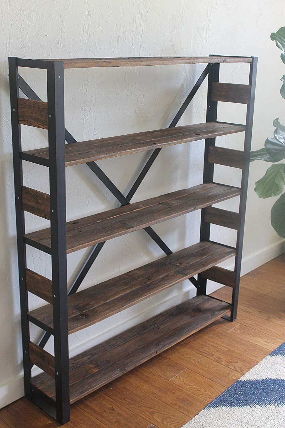 Reclaimed Wood Bookcase, Storage Shelves, Book