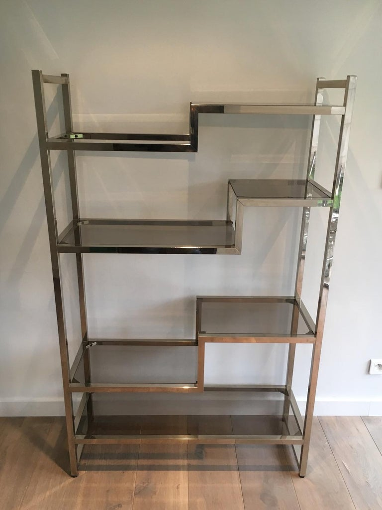 Design Chrome Shelves Unit In The Style Of Willy Rizzo, French, Circa 1970