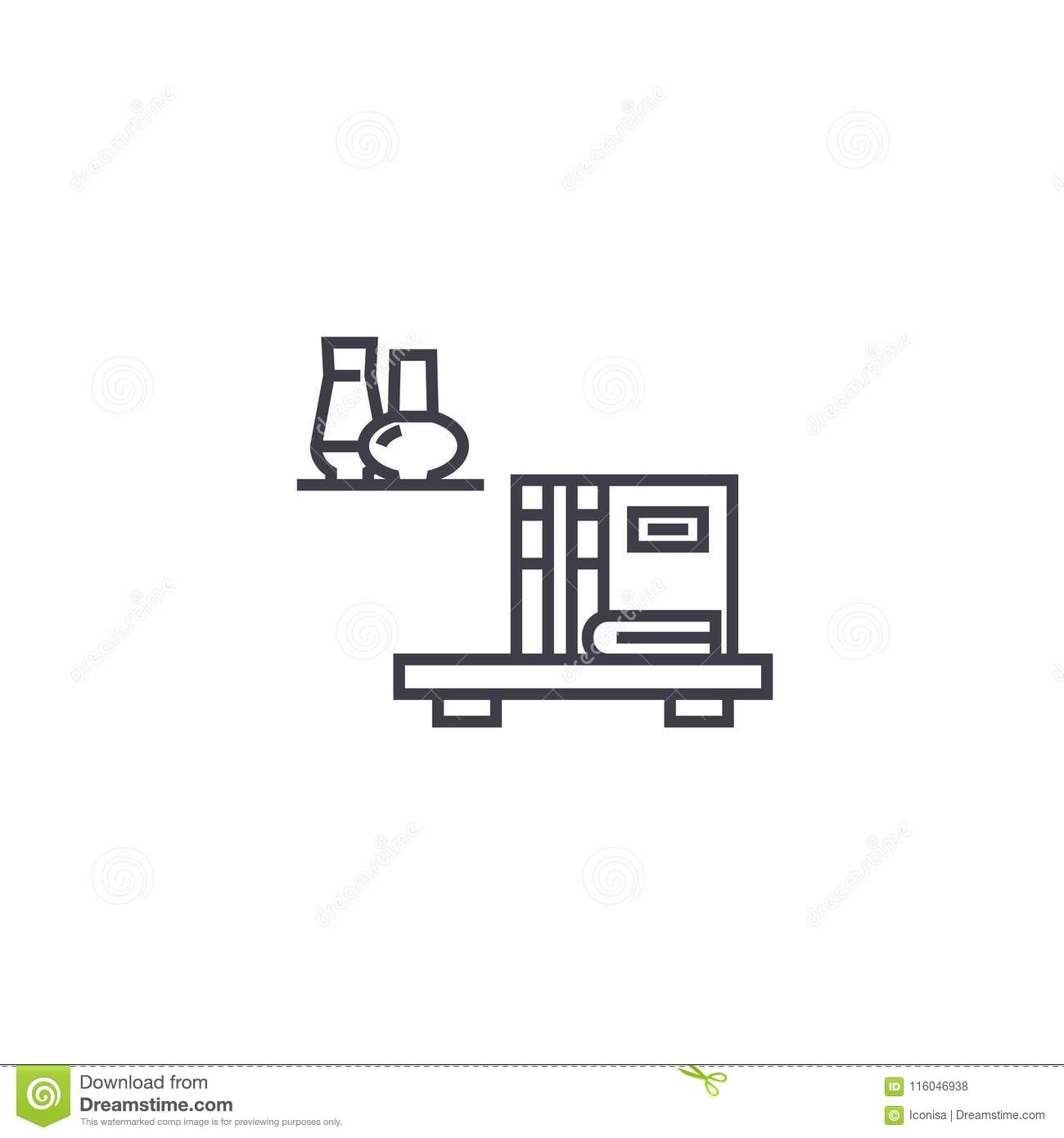 Wall Shelves Vector Line Icon, Sign, Illustration On