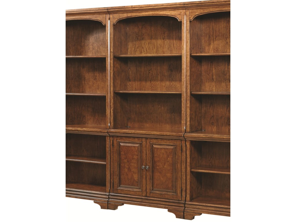 Hawthorne Open Bookcase With 4 Shelves And Two Small Panel Doors