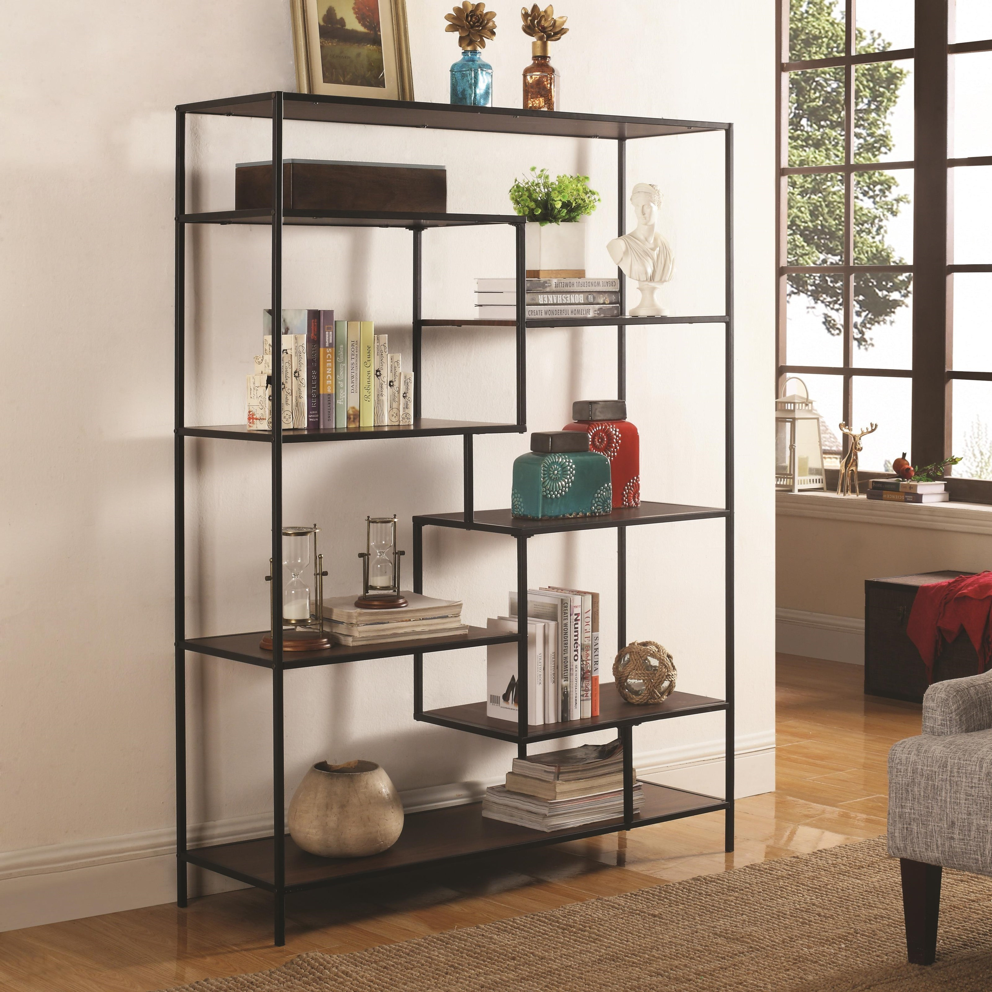 Coaster Bookcases 801135 Modern Bookcase With Offset Shelves   Dunk