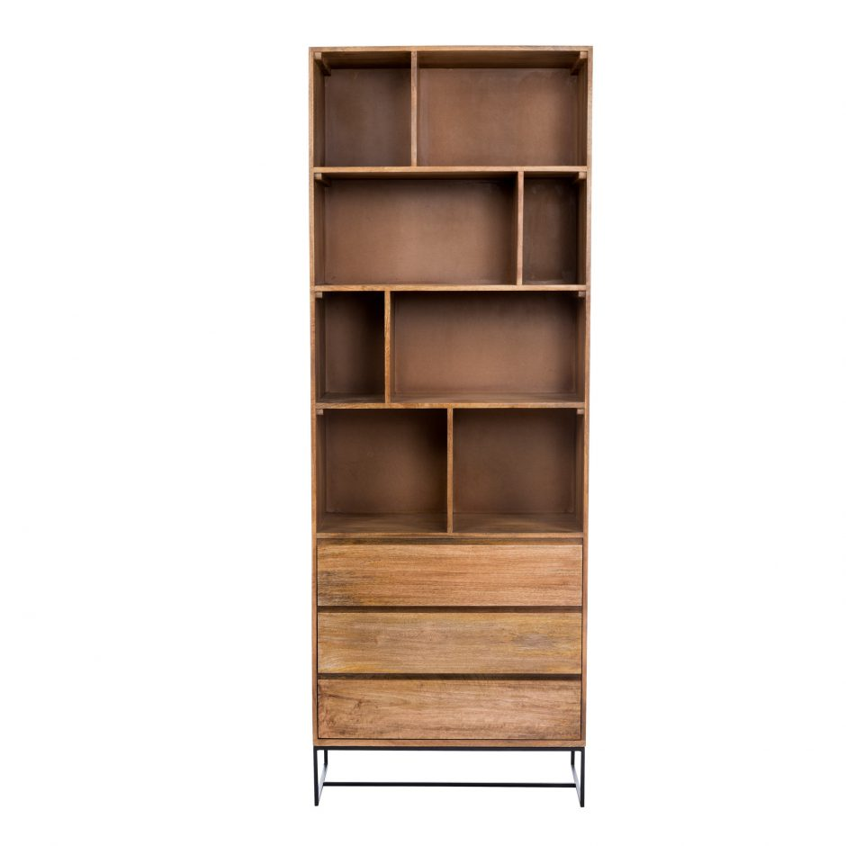 """86"""" Tall Solid Mango Wood Bookcase With 4 Shelves"""