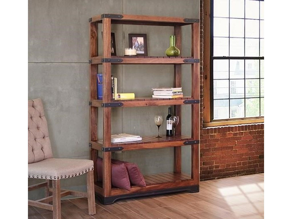 """Parota 70"""" Bookcase With Wooden Shelves By International Furniture Direct  At Dunk & Bright Furniture"""