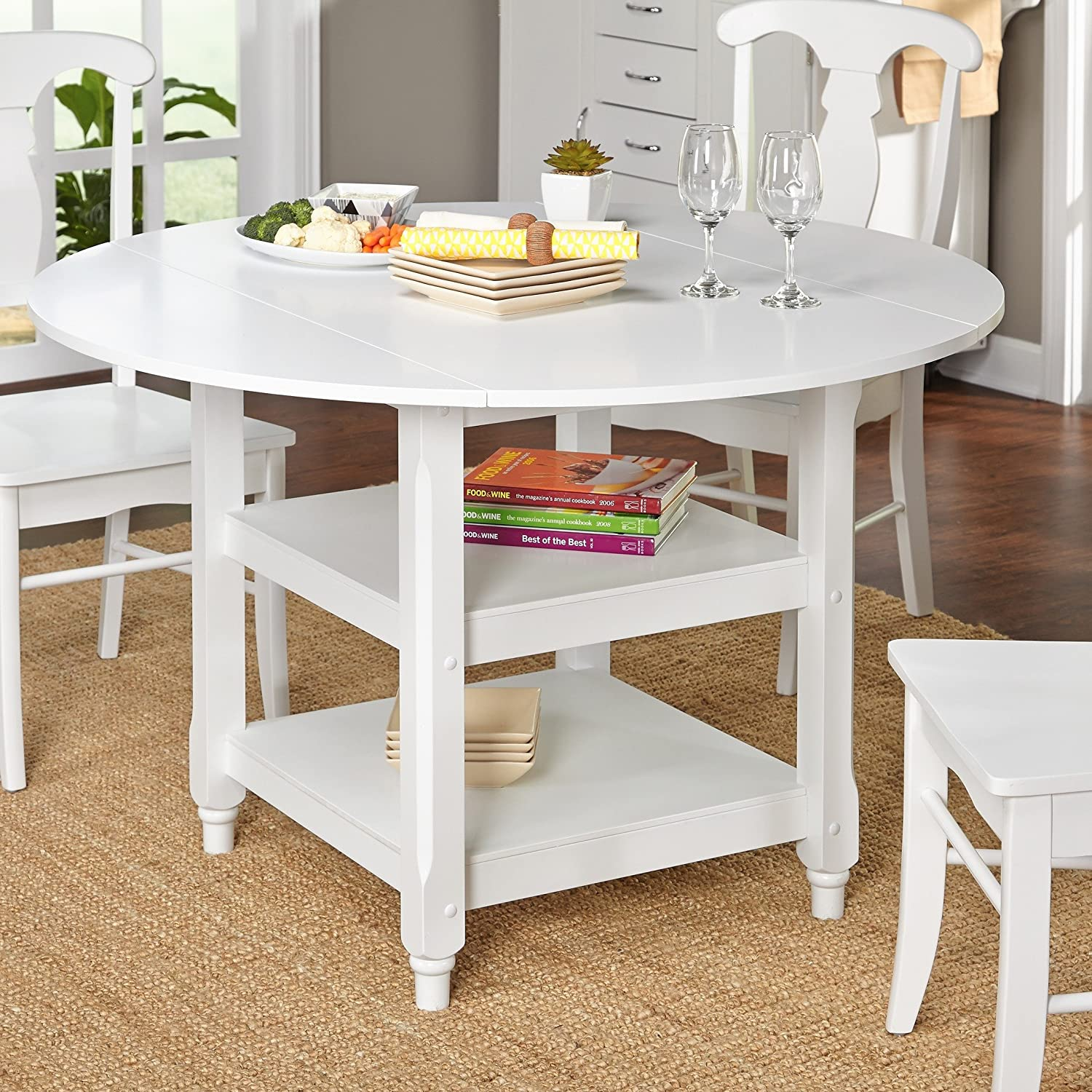 Modhaus Living Modern White 48 Inch Round Cottage Country Dining Table With  Two Shelves - Includes Pen