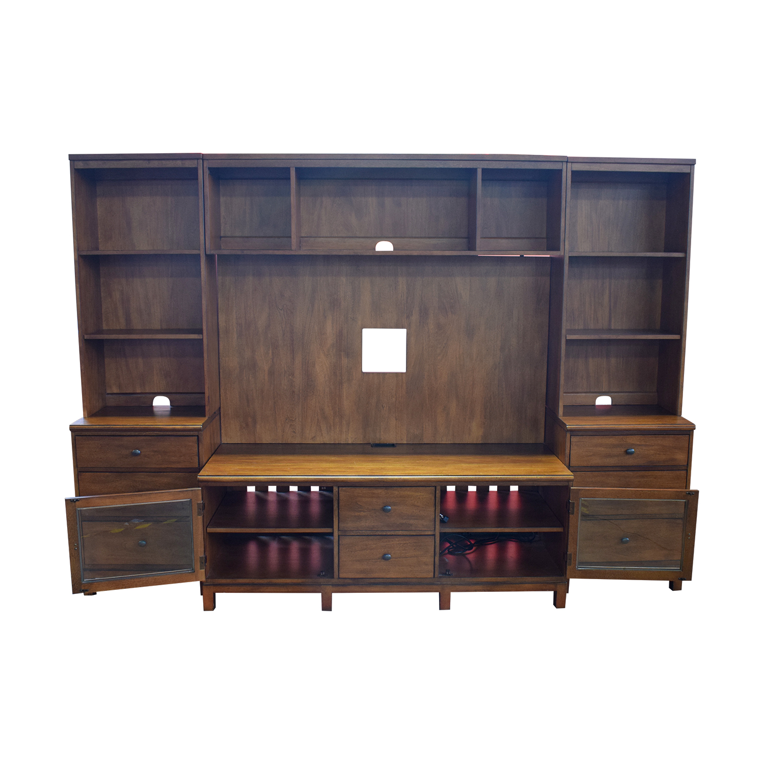 83% Off - Ethan Allen Ethan Allen Wood Media Center With Drawers And  Shelves / Storage