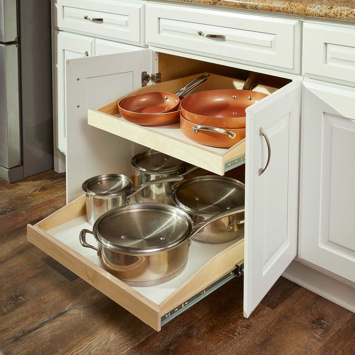 Made-to-fit Slide-out Shelves For Existing Cabinets By Slide-a-shelf