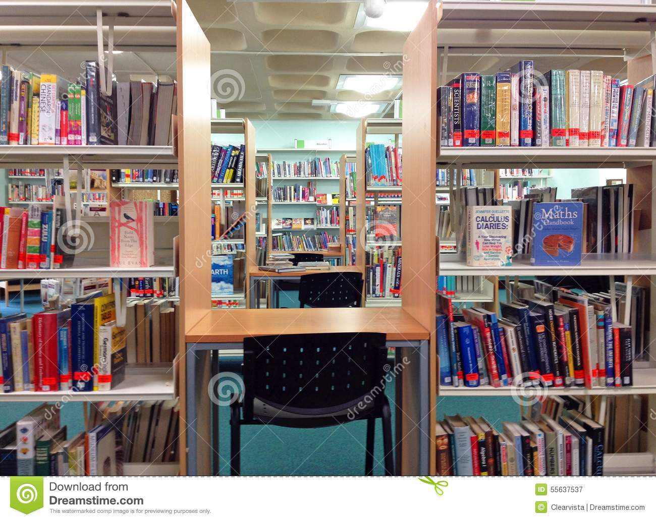 Library Books On Shelves And Study Area Editorial